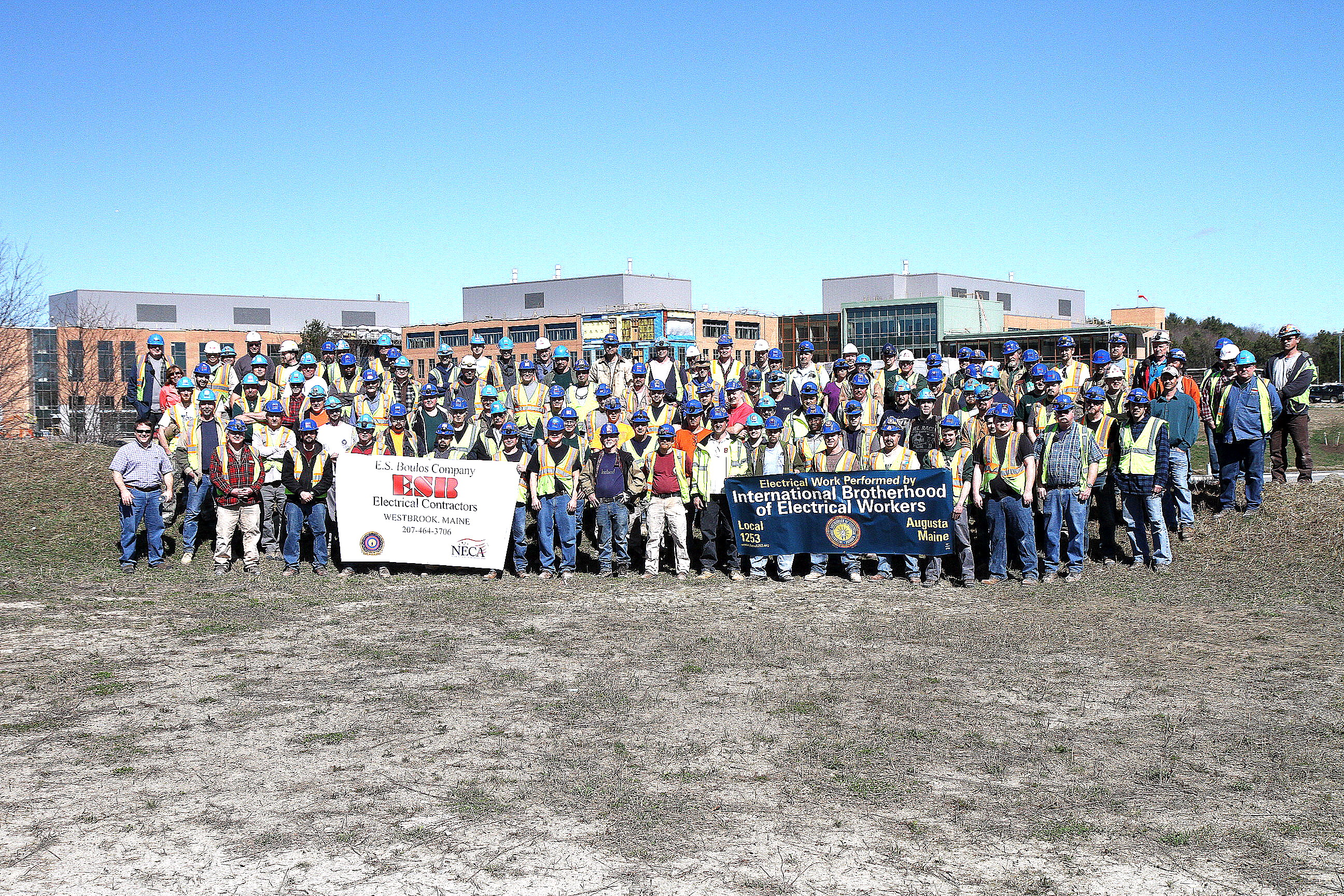 The men and women of IBEW 1253 in front of Maine General Medical Center.  Contractor